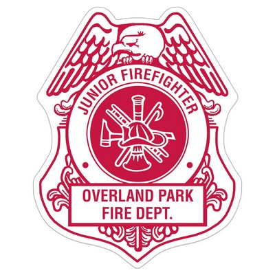 Firefighter Shield Paper Lapel Sticker On Roll